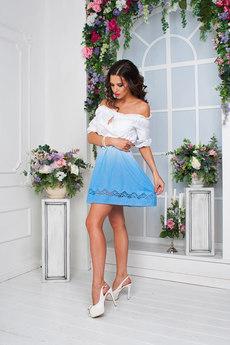 Летнее платье из 100% хлопка с открытыми плечами 0 Angela Ricci со скидкой